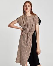 ZARA SS2018 PATCHWORK MIDI CHECK TWO TONE DRESS SIZE S BLOGGERS SOLD OUT