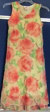 EUC Adorable MAXI DRESS by ZOEY Sz 14 Floral W. RUFFLE HEM Sleeveless WASHABLE