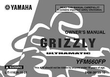 Yamaha Owners Manual Book 2002 Grizzly 660 YFM660FP