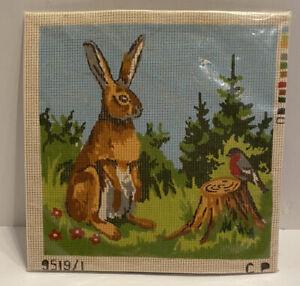 Permin Of Scandinavia Bunny Rabbit Bird Needlepoint Canvas Kit W Floss & Guide