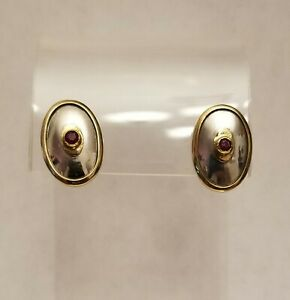 ILIAS LALAOUNIS 18K Yellow Gold Sterling Silver Ruby Clip Oval Earrings