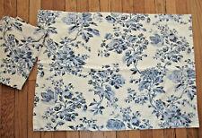 2 Pottery Barn Standard Pillow Shams Blue Floral on Ecru Cotton Excellent