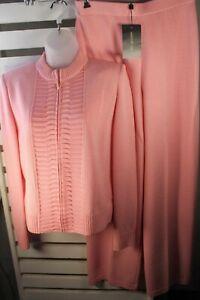 St. John Womens 6 Blush Zip Sweater Shell NEW Pants Wool Blend 3 Pc Pant Suit