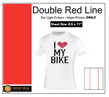 Double Red Line Light Colors Ink Jet Heat Iron On Transfer Paper 85x11 6 Sheets