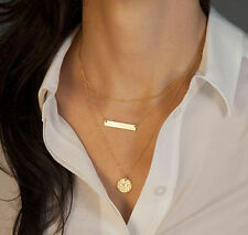 Gold Plated Three Layer Charm Bar Disc Link Chain Pendent Necklace Statement