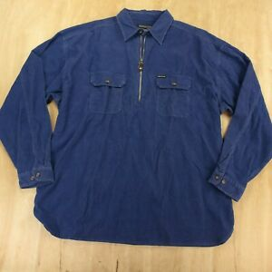 vtg new nwt STRUCTURE pullover corduroy 1/2 zip shirt XL blue 90s 1/4