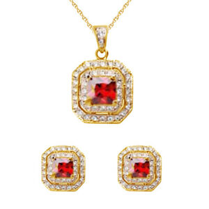 SQUARE GENUINE RUBY SOLID NECKLACE EARRING GIFT 9K Gold Over Sterling Silver