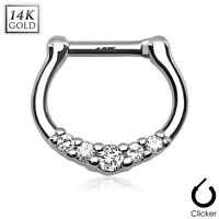 1 Pc 16g 14K Solid White Gold Clear CZ Gems Septum Clicker Nose Ring Piercing