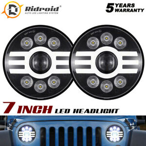 "7"" Round Halo Ring Projector LED Headlights For Chevy C10 C20 C30 Pickup G10 G20"