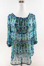 EXPRESS 3/4 Sleeve Semi Sheer Roll Tab Pleated Blouse Size M Multicolor