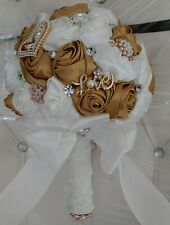 White&Gold Bride Wedding Brooch Bouquet W/ Sparkle Rhinestone Pearl Silk Roses
