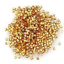 500/1000pcs Silver/Gold/Black/Bronze Tube Crimp End Beads 1.5mm 2mm