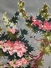 Vtg Waverly Highland Heather Fabric Botanical Print Pink Gray Floral 3.75 Yds