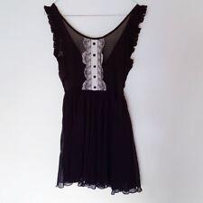 Miss Selfridge Black Sheer Dress Seethrough Bib Lettuce Hem Wednesday Addams 6 4