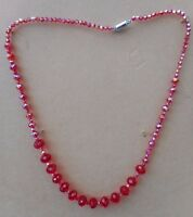 """RED  12mm +8mm RONDELLE CRYSTAL BEAD + 4mm bicone NECKLACE 24""""lg MAG.CLASP"""