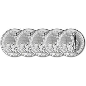 2021 Great Britain Silver Britannia £2 - 1 oz - BU - Five 5 Coins