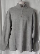 NEW Mens RALPH LAUREN Grey Funnel Neck Cotton Thick Warm JUMPER Pullover XL £110