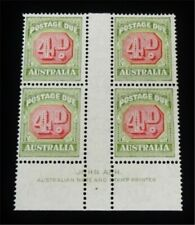 nystamps British Australia Stamp#J68 Mognh Paid $200 Rare Imprint Block J15y1972