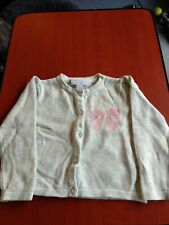 The Little White Company Beige with Pink Bow Cardigan, 9 - 12 Months