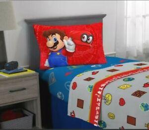 Super Mario Odyssey Sheet Set, Kids Bedding, 3-Piece Twin Size Nintendo Sheets