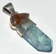 Aqua Aura Quartz 925 Sterling Silver Pendant Jewelry JB12402