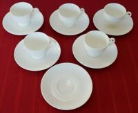 Wedgwood Leigh Shaped White Bone China  FIVE Footed Cup & Saucers Plus Extra