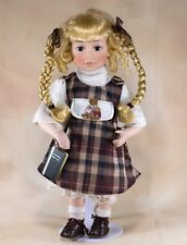 """School Girl Porcelain Collector's Doll With Book 15"""" Blond Hair Blue Eyes"""
