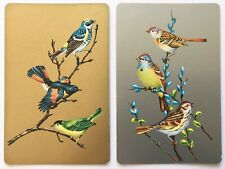 Pair of Vintage Swap/Playing Cards - PRETTY BIRDS - GOLD & SILVER BACKGROUNDS