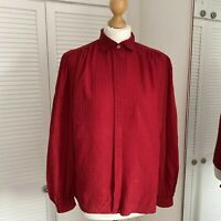 Vintage Argenti 100% Silk Blouse Size 14 Red Collared Elegant Long Sleeve Square