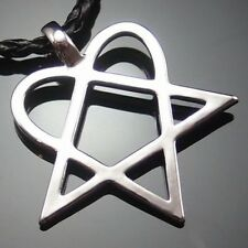 "Heartagram Star Heart HIM Pewter Pendant with 20"" Choker Necklace PP#233"