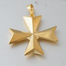 Malta MALTESE CROSS Jewellery Hallmarked 750 18ct Gold 3D Large Pendant Genuine