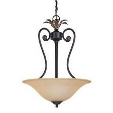 Rustic Bronze 3 Light Chandelier/Pendant With Tangerine Peel Glass
