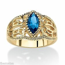 WOMEN MARQUISE CUT 14K GOLD FILIGREE SEPTEMBER SAPPHIRE STONE RING 5 6 7 8 9 10