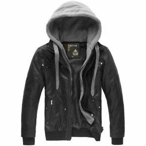Men's Synthetic Leather Jacket Slim fit Biker Motorcycle jacket Hoodies Coat New