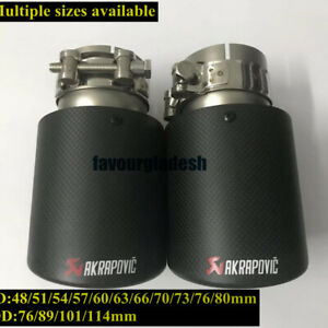 1PCS Akrapovic Carbon Fiber Exhaust Tip End Pipe All Size OUT: 76 89 101 114mm