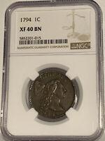 1794 Liberty Cap Large Cent (XF-40 BN) NGC VERY RARE DATE!!