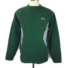 Under Armour Men's Medium Green Gray Fleece L/S Pullover Shirt Sweater Euc