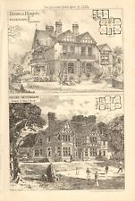 1883 ANTIQUE ARCHITECTURE, DESIGN PRINT- HOUSES, AT REIGATE AND SEVENOAKS