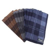 12/pack Men Plaid Cotton Pocket Handkerchief Hanky Hankies Gifts 40x40cm