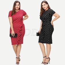 Fashion Womens Plus Size Frill Ruffles Polka Dot Evening Party Ball Pencil Dress