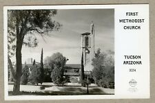 Vintage Real Photo Postcard First Methodist Church Tucson Arizona Walgreen's