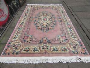 Vintage Hand Made Art Deco Chinese Oriental Pink Wool Carpet 276x179cm