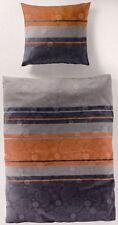 Bierbaum Bettwäsche Mako Satin - grau / braun mit Muster - 155 x 220cm Übergröße