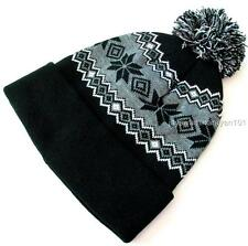 "Black Grey Lined Knit Hat Cuffed Beanie With Pom-Pom Snowflakes 12"" long"