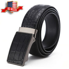 "Men's Comfort Click Belt Black Leather Crocodile stripes 28""-48"" Waist Belt USA"