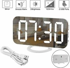 Mirror Electronic LED Digital Alarm Clock, Light,  Display, Dual USB, Decoration
