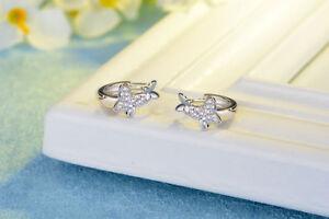 Solid 925 Sterling Silver Butterfly Hoop Circle Huggie Cubic Zirconia Earrings