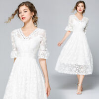 "2019 women's fashion temperament""V""neck lace hollow out high waist A-line Dress"