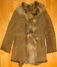 Vakko Lambskin Lamb Fur Olive Brown Suede Shearling Jacket Coat Lace up S Small