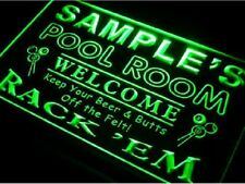 Name Personalized Custom Pool Room Rack 'em Club Home Bar Beer Neon Sign